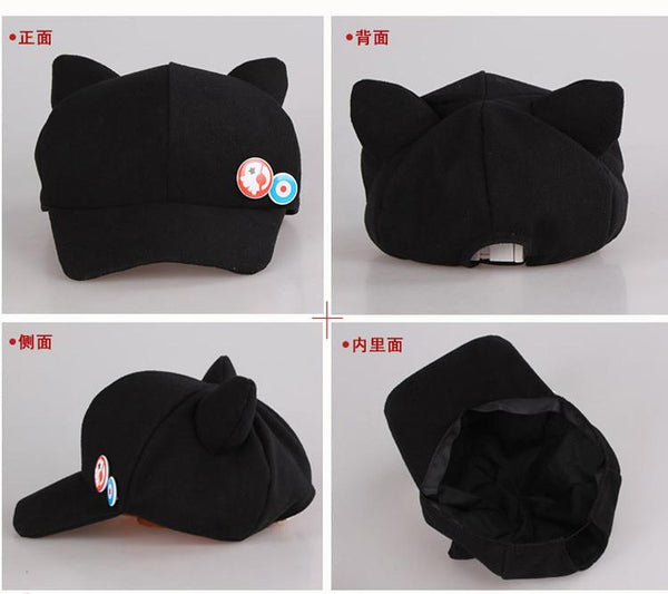 Anime Neon Genesis Evangelion EVA Asuka Langley Soryu Cat Ear Polar Fleece Cosplay Hat for woman Cap + badges