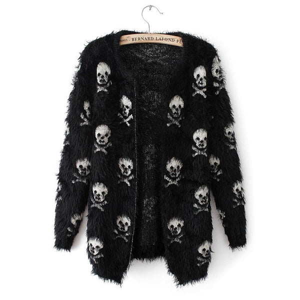 2016 new autumn and winter sweater knit wool sweater Women hippocampus skull women cardigan fashion loose sweater outwear coat