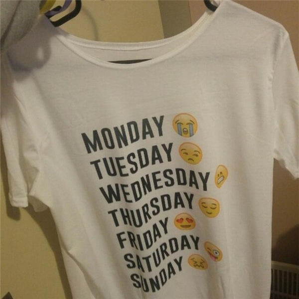Monday Thru Sunday Funny Emoji Kawaii Tops