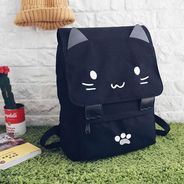 Lovely Cat Backpack Women Canvas