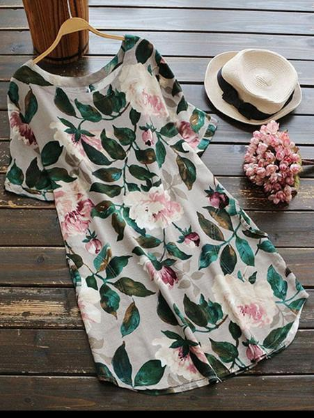 Short-Sleeve Floral A-Line Dress