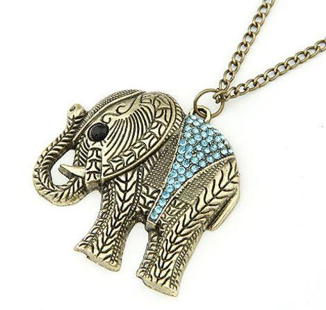 Full Crystal Thailand Elephant Long Chain Necklace For Women