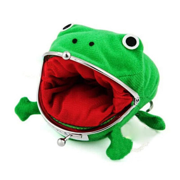 3D Cartoon Frog Coin Purse Cute Animal Style Small Wallet for Children Green Cotton Coin Pouch Change Clutch Purse kids Bag 4