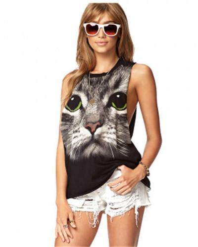 3D Cat Black T Shirt