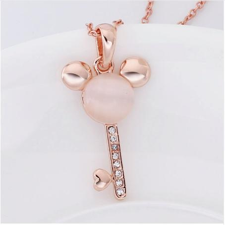 Rose Gold Cover Pink Mouse Head Key Heart Pedant