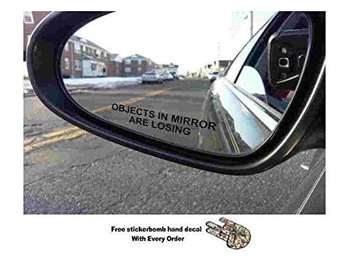 Objects in Mirror are Losing Decal BLACK Etched Glass Funny Sticker