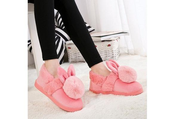 Bunny Rabbit Plush Indoor Home Slippers Pink