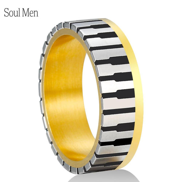 7mm Wide Men Women's Gold Color Music Piano Keyboard Wedding Band Ring for Music Lovers & Pianist  Available Sizes 5-10