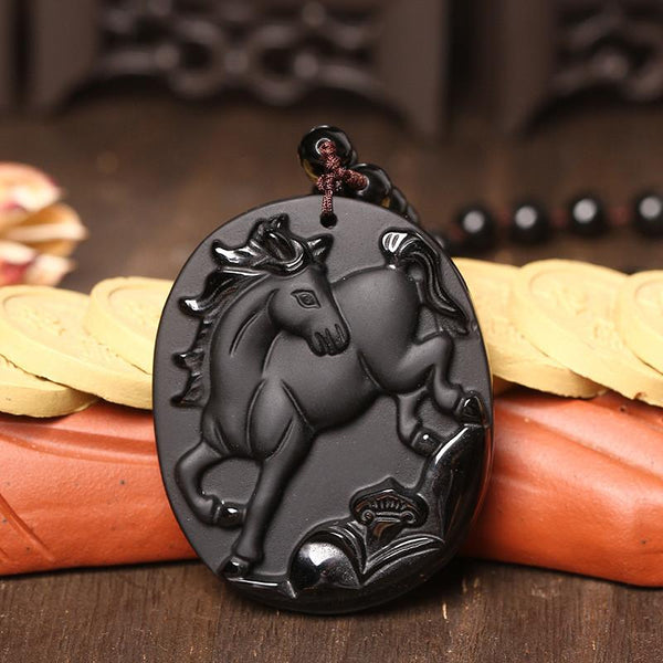 Beautiful Horse Pendant Sculpted Out Of High Quality Obsidian Rock