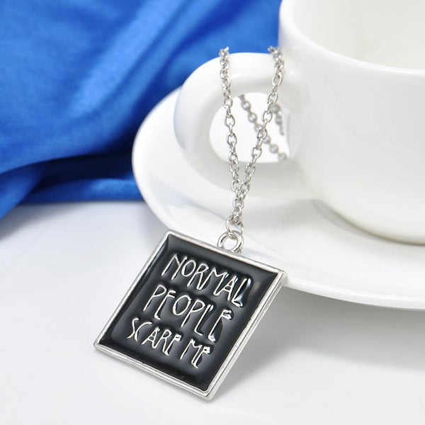 American Horror Movie Story I'm Afraid Enamel Necklace Jewelry Normal People Scare Me