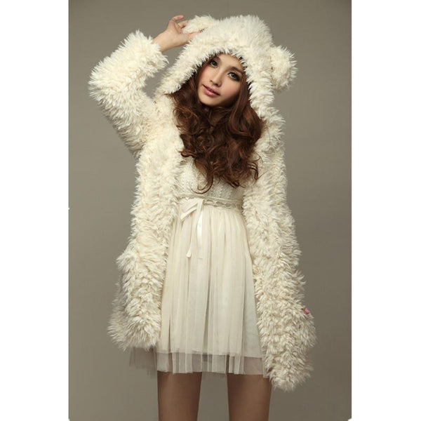 Autumn Winter Warm Women Hoodie Coat Jacket Teddy Bear Ears Thick Soft Fleece Fur Overcoat Sweatshirt Hooded Long Outerwear