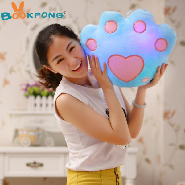 Colorful LED Luminous Bear Paw Pillow