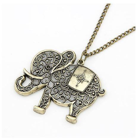 High Quality Cute Elephant Hollow Metal Necklace For Women