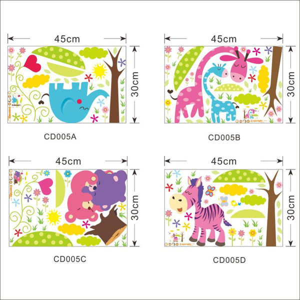 Cartoon Animal Forest Wall Stickers decals for Nursery and kids room Home decor 3d Wall Stickers For Kids Room home decorations