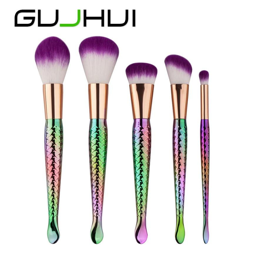 ColorWomen 5pcs Mermaid Makeup Brushes Set Women Colored Cosmetic Powder Brush 161221 Drop Shipping