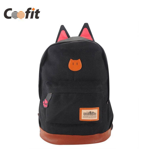 Coofit Canvas Backpack For Women Girls Satchel School Bags Cute Rucksack School Backpack children Cat Ear Cartoon Women Bags