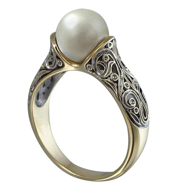 Created Imitation Pearls Wedding Rings For Women Jewelry Vintage Gold Color Men Engagement Rings Female Anel