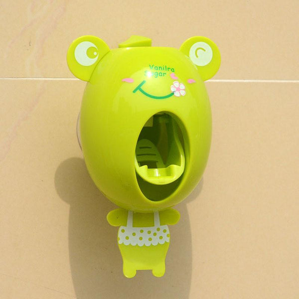 Cute Automatic Toothpaste Dispenser Wall Mount Stand Bathroom Set