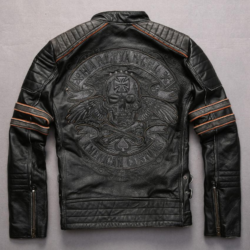 Embroidery skulls pattern vintage cowhide motorcycle jacket Punk style adjustable waist contrast color sleeve leather jacket men