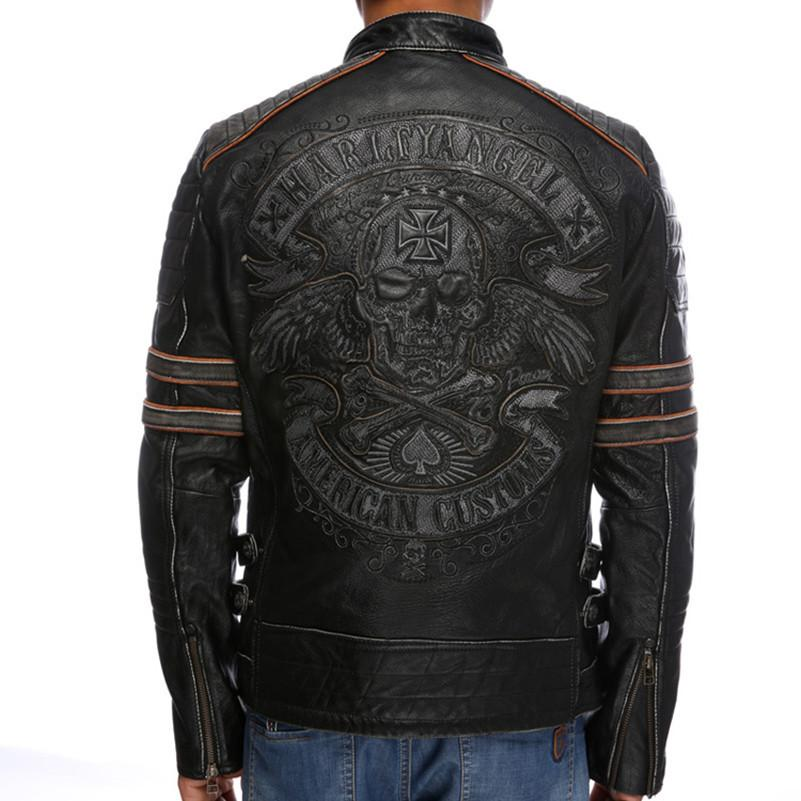Brown Skull Wings Embroidered Leather Vests Jacket ...