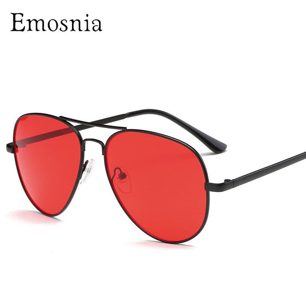 Emosnia Vintage Red Samll Aviator Sunglasses Women Retro 2018 Metal Frame Yellow Red Lens Round Vintage Sun Glasses For Men UV