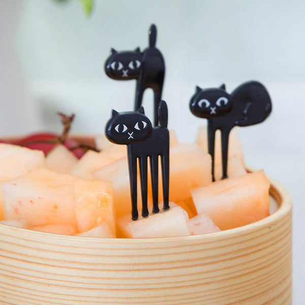 6pcs/set Black Cat Fruit Fork