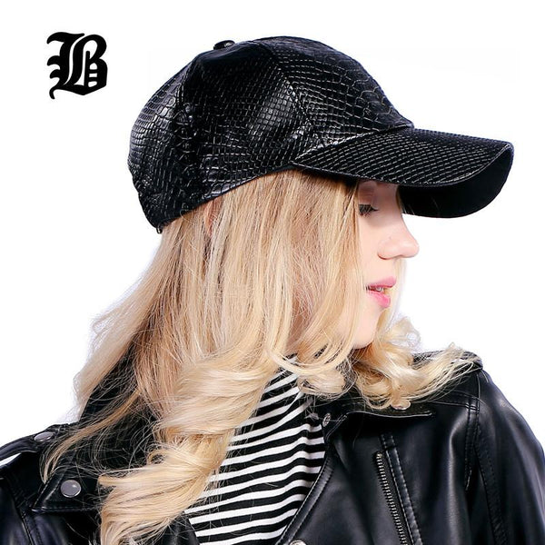 [FLB] Cool!new fashion PU black Baseball Cap women Hats For men fall Leather cap Trucker cap Sports snapback winter for women