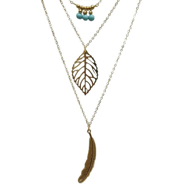 3 Layer Chain Turquoise Leaf Long Pendant Necklace