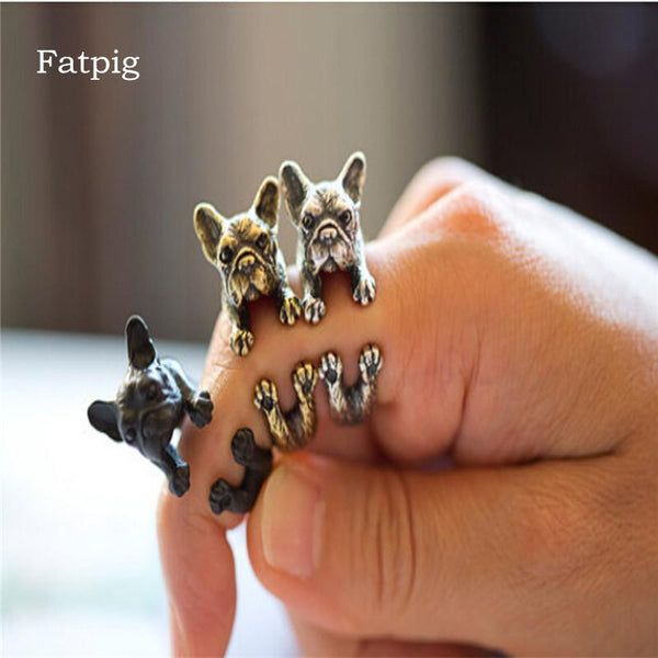 Fatpig Fashion Rings Vintage Handmade French Bulldog Animal Wrap Rings for Women Girl