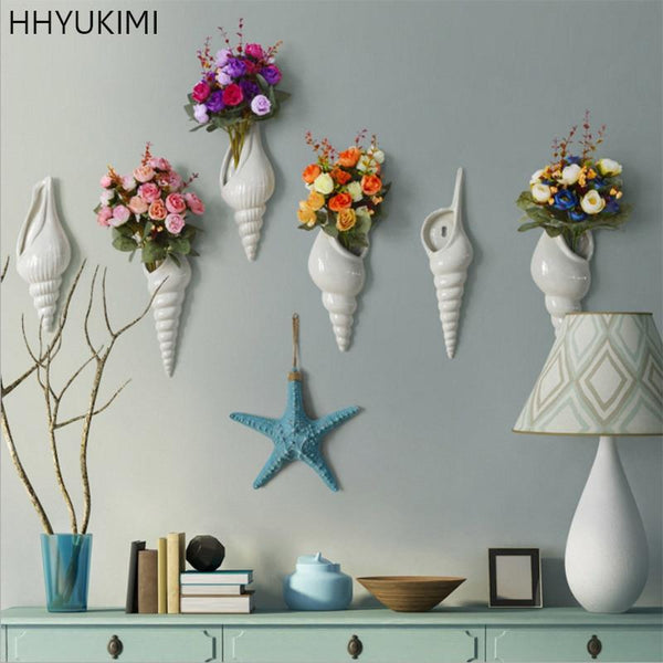 HHYUKIMI Simple Modern Creative Three-dimensional Mural Wall Flower Vase Conch Background Wall Decoration Home Furnishing Tools