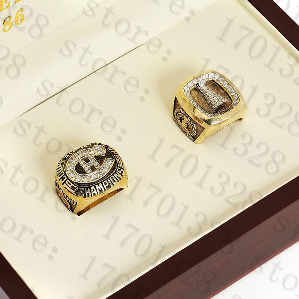 One Set(2pcs) 1986 1993 MONTREAL CANADIENS NHL Stanley Cup Championship Ring Size 10-13 With High Quality Wooden Box