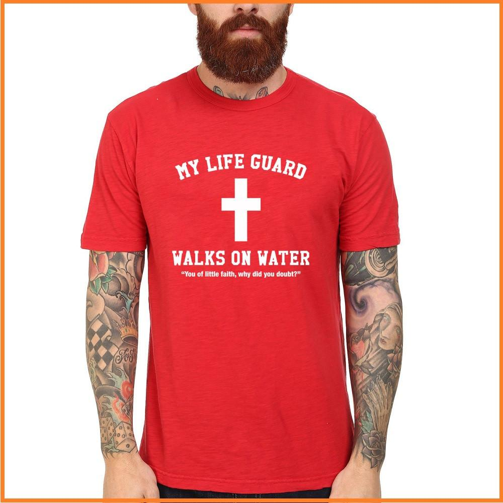 My Life Guard Walks On Water Jesus Christian Black Cotton Crew T-Shirt Men Short Sleeve Tee - Unisex