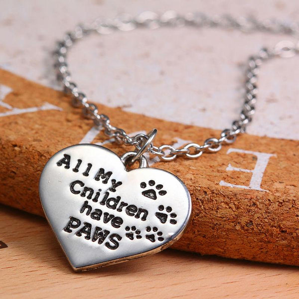 """ALL MY CHILDREN HAVE PAWS"" DOG PAWS PENDANT NECKLACE"