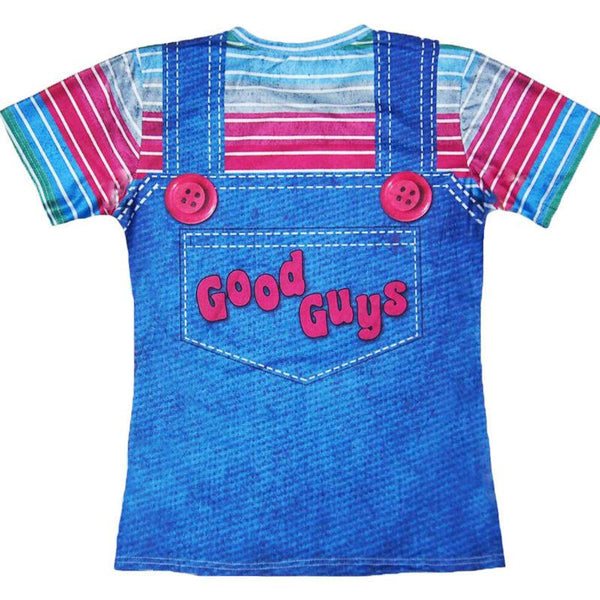 Harajuku 3D Printed T-shirts Men Stripe Tee Shirts Halloween Chucky Good Guys Bib Tees Fake Two Pieces Funny Summer Tops