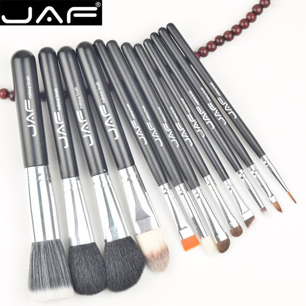 12 Pcs Makeup Brushes Kit Natural Hair Synthetic Duo Fiber