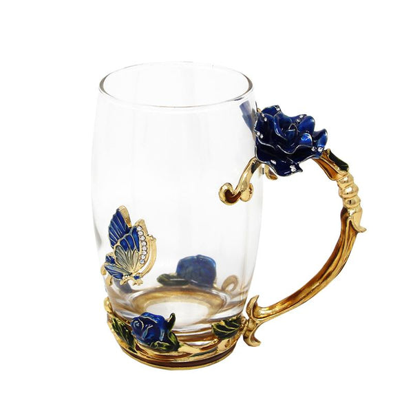 Glass Cups Blue and Red Rose Handgrip