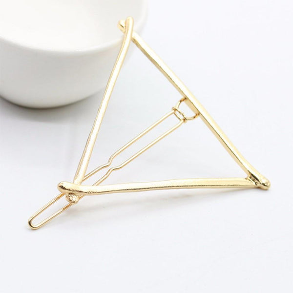 KISS WIFE Vintage Gold/ Silver Color Metal Triangle Hairpin Girls' Hair Clips Women Fashion Hair Accessories