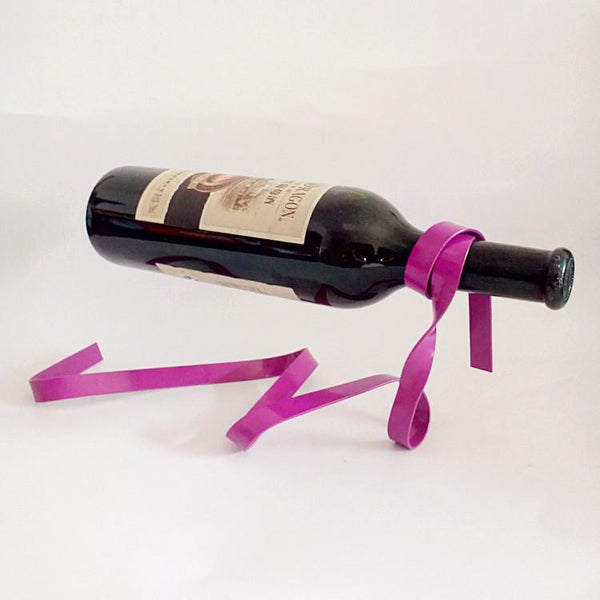 Magic Suspended Ribbon Wine Rack Suspension Wine Stand Novelty Iron Rack Bottle Holder Stand Bar Wedding Whiskey Stone Silk Rope