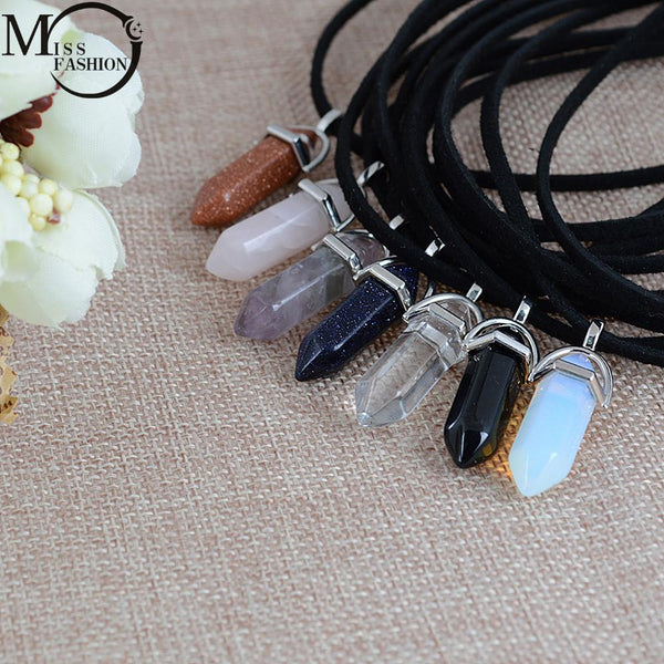 New Style Double Layer Black Velvet Chokers Fashion Punk Geometric Opal Pendants Necklaces For Women