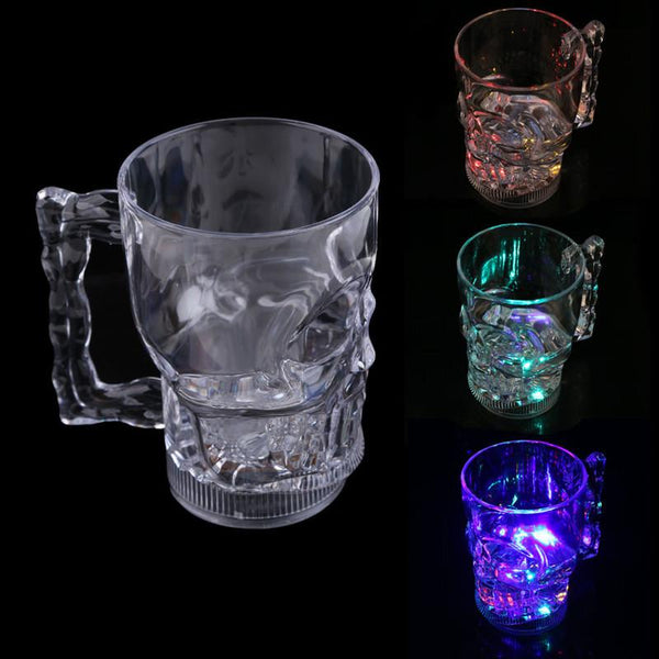 New Transparent Water Inductive Glowing Whiskey Wine Vodka Beer Cola Cup Mug LED Glowing Skull Shape Glass Cup Drinking Ware