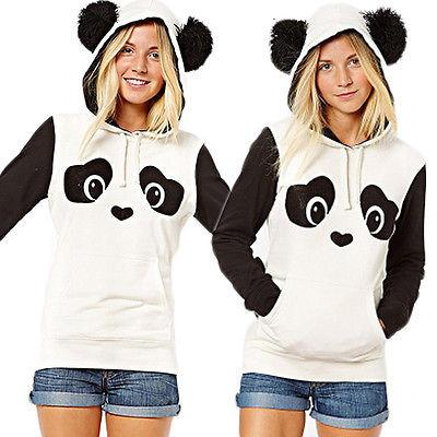 New Women Long Sleeve Panda Ear Hoodie Sweatshirt