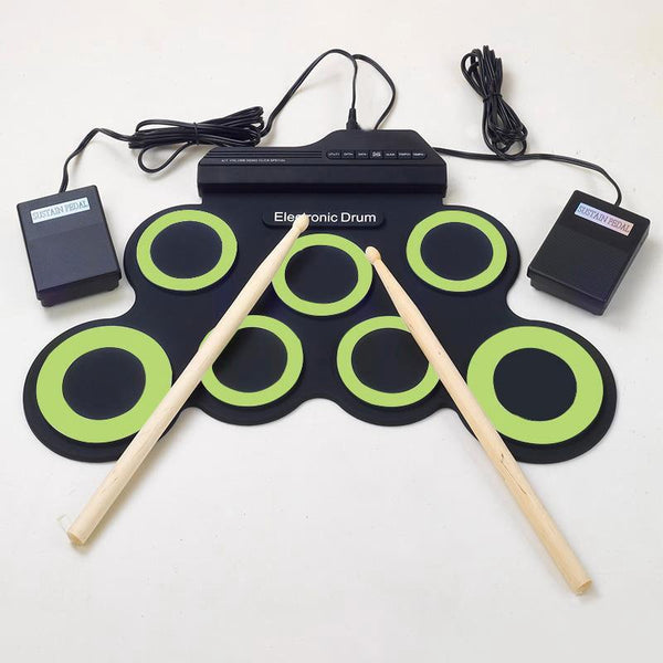 Portable Digital USB Roll up Foldable Silicone Electronic Drum Pad Kit With DrumSticks & Foot Pedal