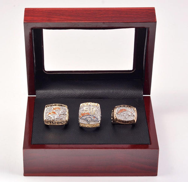 1997 1998 2015 Denver Broncos Super Bowl Copper Championship Rings With Wooden Boxe