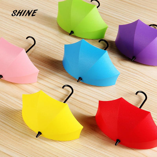 SHINE Free Shipping 1PCs Umbrella Wall Hook Key Hair Pin Holder Colorful Organizer Decor Decorate bottoni botoes New Arrival