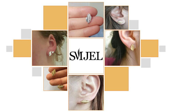 SMJEL New Fashion Punk Leaf Earrings for Women Vintage Feather Stud Earring femme 2018 Jewelry Party Gift boucle d oreille ED038