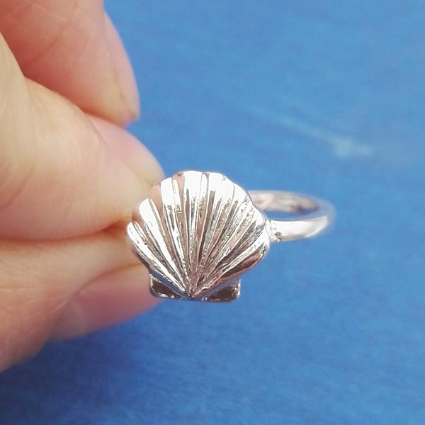SanLan 1pcs simple Elegant  Everyday Dainty  Shell Ring Seashell Jewelry Nautical Ring Day Gift