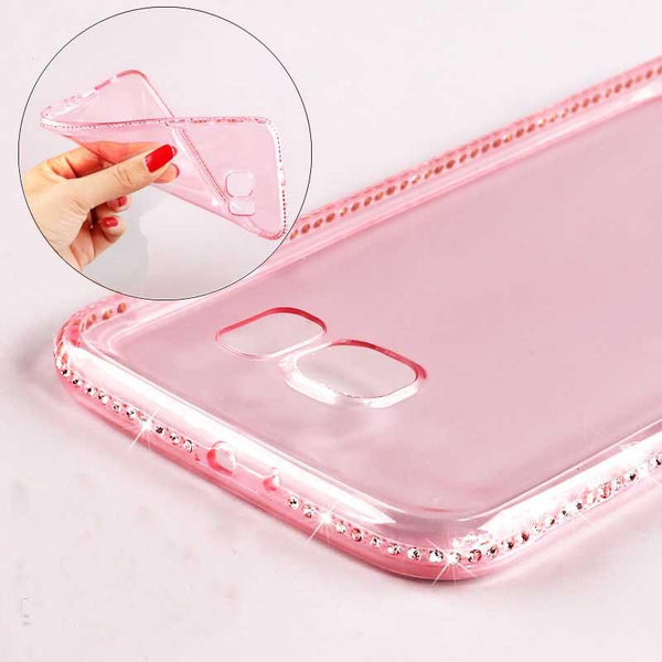 Soft Transparent Diamond Phone Cases For Samsung Galaxy S6 S6 Edge S7 S7 Edge/ A5 A7 A8/J5 J7 Ultra Slim TPU Gel Cell Back Cover