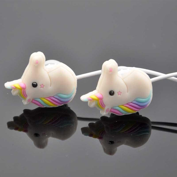 Special Unicorns Cartoon Earphones Colorful Rainbow Horse In-ear Earphone 3.5mm Earbuds With Mic Mini Earphone For Smartphone