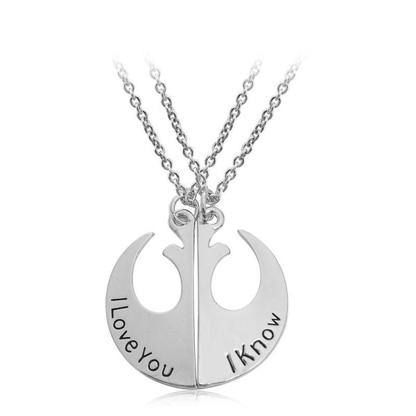 Star Wars Rebel Alliance Pendant I Love You I Know Lover's Couple Necklace