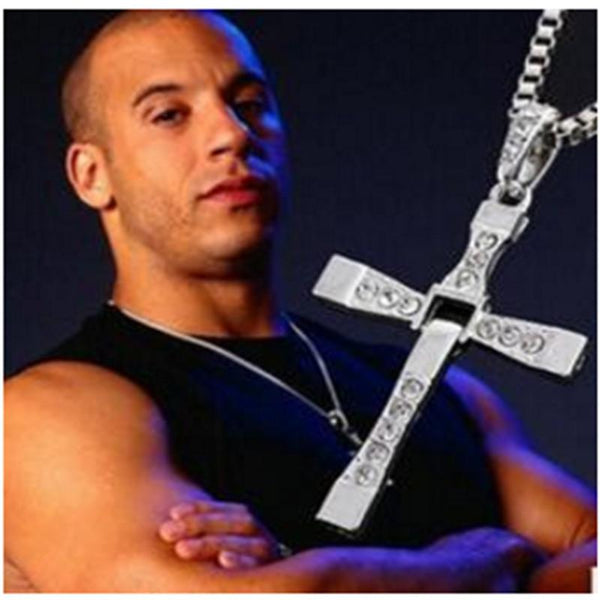 The Fast and Furious Crystal Cross Men Necklaces & Pendants Silver Color Maxi Steampunk Necklace